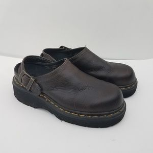 Dr. Doc Martens Ankle Strap Platform Clogs Brown 7